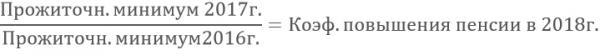 Формула определения коэффициента индексации пенсионных выплат с 1 апреля 2018 года